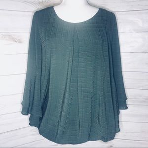 Alyx Olive Green 3/4 Ruffle Bell Sleeve Blouse Top